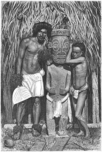 Inboorlingen van de Markiezen-eilanden (of Marquesas-eilanden), Stille Oceaan, met afgodsbeeld.